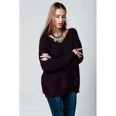 Oversized V-neck sweater with purple color knitted