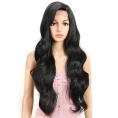 Joedir Lace Front Wig 30 inch Long wavy Synthetic Hair Wigs for Women Half Hand Tied Density wigs with Heat Resistant Fiber (Black) Blonde Wig, Blonde Ombre, Wig Styles, Curly Hair Styles, Big Wavy Curls, Wig Hairstyles, Straight Hairstyles, Human Lace Wigs, 360 Lace Wig