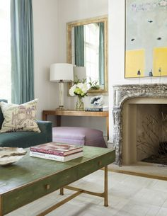 den & living rooms - Collins Interiors with a wonderful marble fireplace mantel