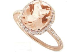 Meira T Rose Gold & Diamonds - Cushion Cut Pink Morganite Center Stone. This is an absolutely stunning right hand ring with a Cushion Cut Pink Morganite Gemstone center which is surrounded by dazzling diamonds with a shank set in rose gold. Bling Bling, Rose Gold Engagement, Morganite Engagement, Wedding Engagement, Right Hand Rings, Bronze, Swagg, Just In Case, At Least