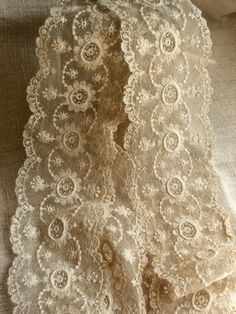 Etsy listing at https://www.etsy.com/listing/193164442/63-vintage-lace-panel-cream-scalloped