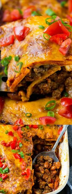 This Beef Enchilada Casserole from Spend With Pennies is a super easy dinner for busy nights! It has layers of seasoned ground beef, hearty beans, crunchy tortillas, and cheese! Enchilada Casserole Beef, Beef Enchiladas, Enchilada Recipes, Casserole Recipes, Burrito Casserole, Casserole Ideas, Mexican Dinner Recipes, Mexican Dishes, Mexican Meals