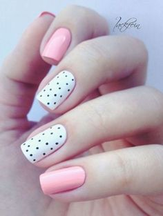 A manicure is a cosmetic elegance therapy for the finger nails and hands. A manicure could deal with just the hands, just the nails, or Dot Nail Art, Polka Dot Nails, Polka Dots, Pink Nail, Glitter Gel Nails, Diy Nails, Manicure Ideas, Gel Manicure, Nail Nail