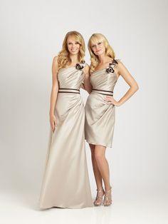 2012 Allure Bridesmaids - Cappuccino Satin Ruched & Ruffled One Shoulder Long Bridesmaid Dress - 2 - 28