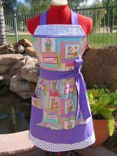 New / Easter Apron / Retro Style with Eyelet Trim / Sassy Apron with Towel Loop / Handmade, Womens / Easter Bunnies. $29.95, via Etsy.