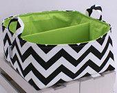 "XLG 12""x12""x6"" Diaper Caddy - Storage Bin Basket Container Organizer - Navy White Chevron Zigzag Fabric. $52.00, via Etsy."