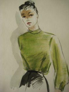 vintage fashion sketches | Vintage Fashion Illustration Clothing Sketch by sewbettyanddot