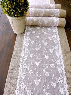 Wedding table runner, pink lace rustic chic...                                                                                                                                                                                 More