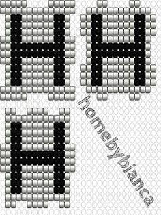 Skabeloner til hama bogstavklodser - Home by Bianca Perler, Company Logo, Bracelets, Design, Hama Beads, Jewelery, Bangle Bracelets, Bracelet, Bangle