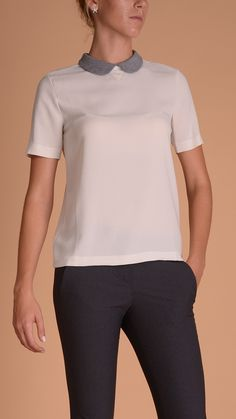 Brunello Cucinelli Short sleeve T-shirt, contrast colour retro collar. 100% silk