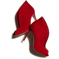 Gianvito Rossi Suede Ankle-Flare Bootie, Red ($1,485) ❤ liked on Polyvore featuring shoes, boots, ankle booties, heels, booties, ankle boots, heeled ankle boots, suede ankle booties, suede booties and red heel booties