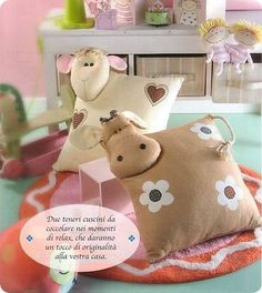 such cute pillows Animal Cushions, Cute Cushions, Cute Pillows, Baby Pillows, Kids Pillows, Throw Pillows, Sewing Toys, Sewing Crafts, Sewing Projects