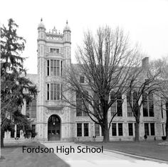 Take a look at photos of buildings throughout Dearborn from the late onward. Photos courtesy of Dearborn Historical Museum. Dearborn Michigan, Media Center, Looking Back, High School, Museum, Mansions, History, House Styles, Building