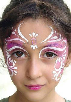 purple and white face paint