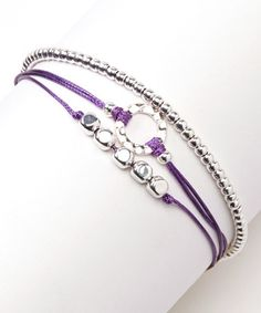 Take a look at this Purple & Silver Triple Bracelet by Farfan Jewelry on #zulily today!