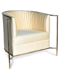 Armchairs, Italian Luxury Designer Ivory  Gold Cocktail Armchair, so elegant, one of over 3,000 limited production interior design inspirations inc, furniture, lighting, mirrors, tabletop accents and gift ideas to enjoy pin and share at InStyle Decor Beverly Hills Hollywood Luxury Home Decor enjoy  happy pinning