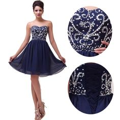 Navy Blue Short Mini Cocktail Ball Gown Evening Prom Party Homecoming Dress 2-16