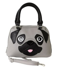 Look at this Sleepyville Critters Gray Pug Puppy Satchel on #zulily today!