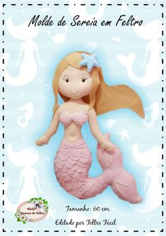 Large Mermaid Mold 60 cm - Do It Yourself! Little Mermaid Birthday, The Little Mermaid, Felt Wreath, Mermaid Dolls, Felt Patterns, Felt Dolls, Felt Ornaments, Sewing Projects, Craft Projects