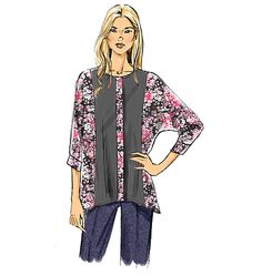 A loose-fitting tunic top with front panels and loads of color-blocking opportunities. Sew Vogue Patterns V9110, Misses' Top