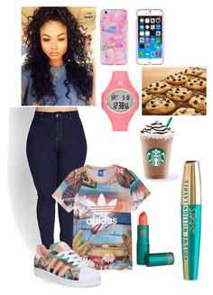 """2 on"" by darrionne-r-adams ❤ liked on Polyvore featuring Forever 21, adidas and Lipstick Queen"