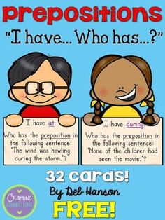 Prepositional Phrases I Have Who Has Game Teaching Language Arts, Teaching Writing, Speech And Language, Teaching English, Teaching Ideas, Teaching Strategies, Teaching Resources, Grammar Games, Grammar Skills