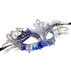 Metal Masquerade Mask with Rhinestones - Royal Blue Masquerade Ball... (115 BRL) ❤ liked on Polyvore featuring masks, masquerade, jewelry, accessories and costumes