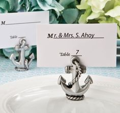 Use these fun Nautical Anchor Place Card Holders for your nautical theme wedding or special event.