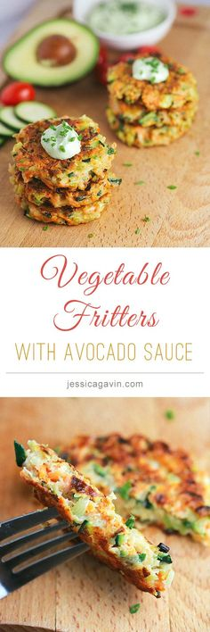 Vegetable Fritters with avocado yogurt dipping sauce - broccoli, carrots, zucchini, flour, parmesan, egg, greek yogurt, avocado, dill, chives