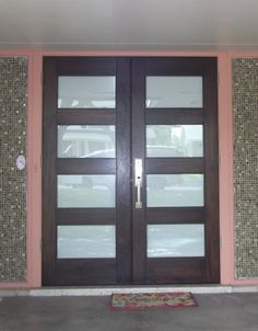 Modern Wood Door: Rubi Mahogany Double Entry Door With Matte Glass And  Wilshire Handleset.