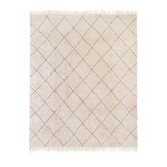 Vloerkleed graphic met fringes, Off white