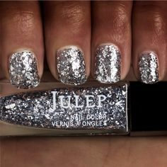 Julep Kirby: Silver jagged glitter top coat