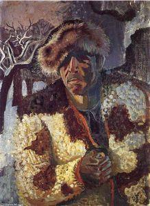 auto portrait avec `fur` cap - (Otto Dix)