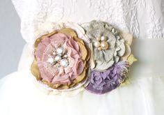 Flower Corsage Pin - Pink, Lavender, Sage Green Textile Brooch