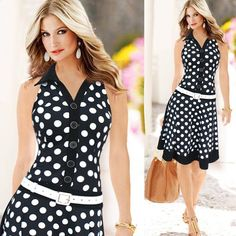"Women Fashion Polka Dot Sleeveless V-neck Print Dress One-piece Dresses Specification: 100% brand new and high quality Color:Black,White Gender:Women Item type:Dress Size:S,M,L,XL,XXL Waist:low-waistline Material:Cotton fibre Neck:V-neck/Polo neck Sleeve:Sleeveless Dress length:Mid-calf Size: (1 inch =2.54 cm) Size Waist Bust Shoulder Length S 66cm/25.9"" 80cm/31.5"" 35cm/13.7"" 99cm/38.9"" M 74cm/29.1"" 85cm/33.4"" 36cm/14.1"" 100cm/39.3"" L 80cm/31.4"" 90cm/35.4"" 37cm/14.5"" 101cm/39.7"" XL 84cm/33""…"