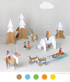Scène Hivernale - DIY Enfant - Children - Tuto - Tutoriel - Cardboard- Carton - Winter -