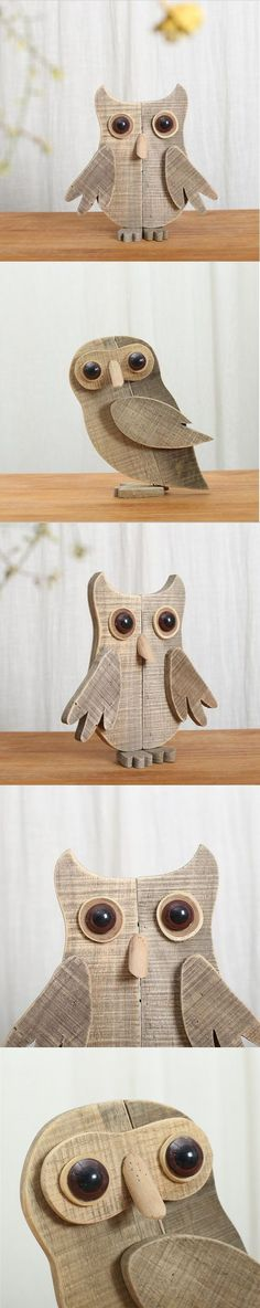 Simple original modern wooden animal desktop ornaments handmade abstract wood owl figurine new creative home decorations $46