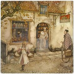Anton Pieck, Baker blowing the horn to alert customers to the opening.
