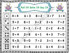 Roll It! Solve It! Say It! Addition Facts Fluency (1-10) from Klever Kiddos on TeachersNotebook.com (8 pages)