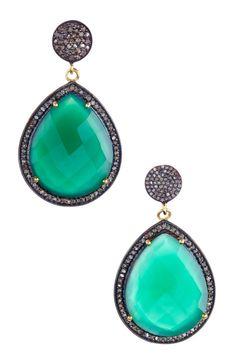 Green Onyx & Champagne Diamond Teardrop Earrings