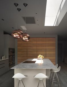 Quartzite worktop on urbo island with tall veneer metro cupboards Marble Worktops, Functional Kitchen, Round House, Timeless Elegance, Cupboards, Kitchen Design, Colours, Ceiling Lights, Island