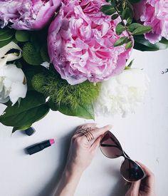 Mood. #flatlay #mood #peonies #pink