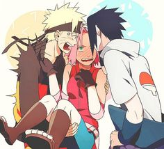Sasuke kissing sakura = naruto jealous + sakura blushing = I like this picture TEAM 7 Naruto Team 7, Naruto And Sasuke, Naruto Uzumaki, Anime Naruto, Naruto Sasuke Sakura, Naruto Cute, Naruto Funny, Sakura Haruno, Otaku Anime