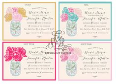 I like the teal or the soft pink- Printable invitations  bridal shower by FreshmintPaperie on Etsy, $17.50