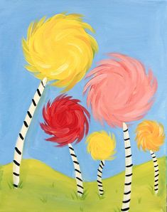 The lorax Creatively Youngsters: Truffula Bushes *NEW* Simple Canvas Paintings, Easy Canvas Art, Easy Canvas Painting, Mini Canvas Art, Tree Canvas, Spring Painting, Easy Paintings, Tree Paintings, Easy Painting For Kids