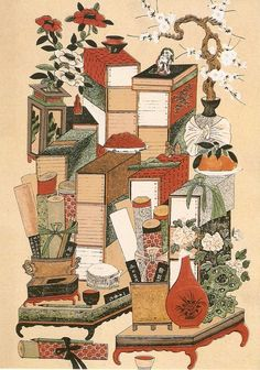 The Painting of Stationary or Writing Materials and Books. 책거리 As paintings displayed in the study rooms of scholars, they show the life in the era that respected learning.