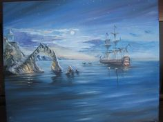 Handmade oil painting, Canvas On Chipboard. The Black Pearl?