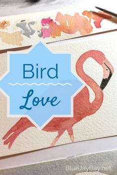 """Welcome to Blue Jay Bay's """"Bird Love"""" board. This watercolor flamingo is something I painted for fun, to try out some new colors. I love birds of all shapes, sizes, and origins. Eagles, songbirds, flamingos, owls, raptors, waterfowl, and of course blue jays! Here you will find bird art, photography, illustration, and other feathered inspirations."""