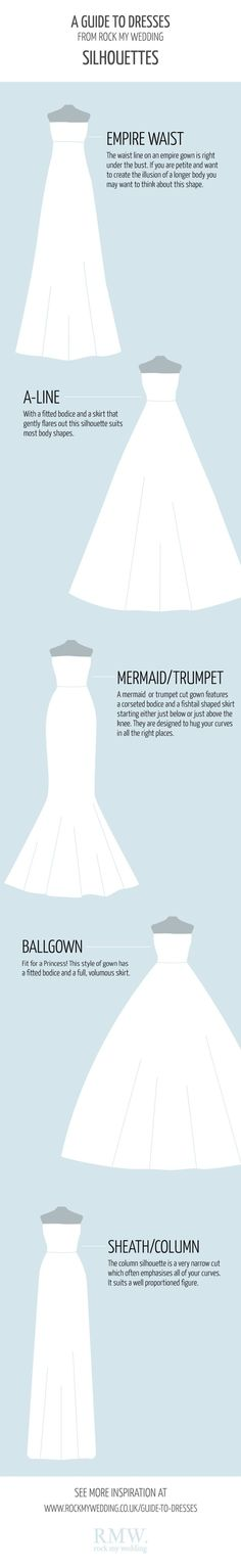 Wedding Dress 101: Choose the Perfect Silhouettes [by RMW. rock my wedding -- via #tipsographic]. More at tipsographic.com