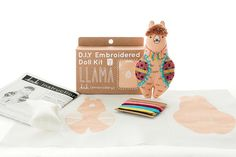 Llama is a Level 2 pattern, using basic and intermediate stitches. All Kiriki patterns are screen printed by hand with vibrant, water-based inks right onto the fabric so no tracing or transferring is ever required! D.I.Y. Embroidered Doll Kits include: • Screen printed pattern on
